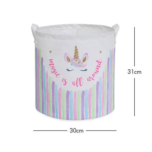 Ocean Home Unicorn Baskılı Pembe Silindir Çocuk Odası Sepeti - 30x31 cm