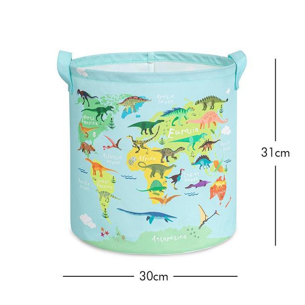 Ocean Home Dinozor Baskılı Mavi Silindir Çocuk Odası Sepeti - 30x31 cm