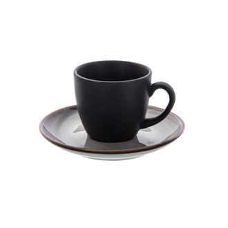 Tulu Porselen Luna 4 Parça Kahve Fincan Seti - Siyah
