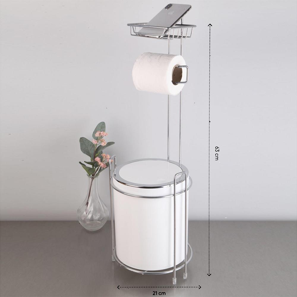 Metalife Yedekli Wc Kağıtlık ve Çöp Kovası - Beyaz