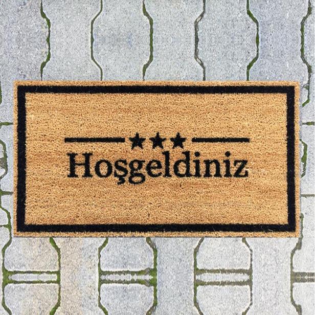 Giz Home  Hoşgeldiniz Üç Yıldız Koko Kapı Paspası - 40x70