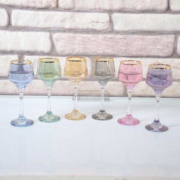 Lav 6'lı Kahve Yanı Su Bardağı - Renkli - 80 ml