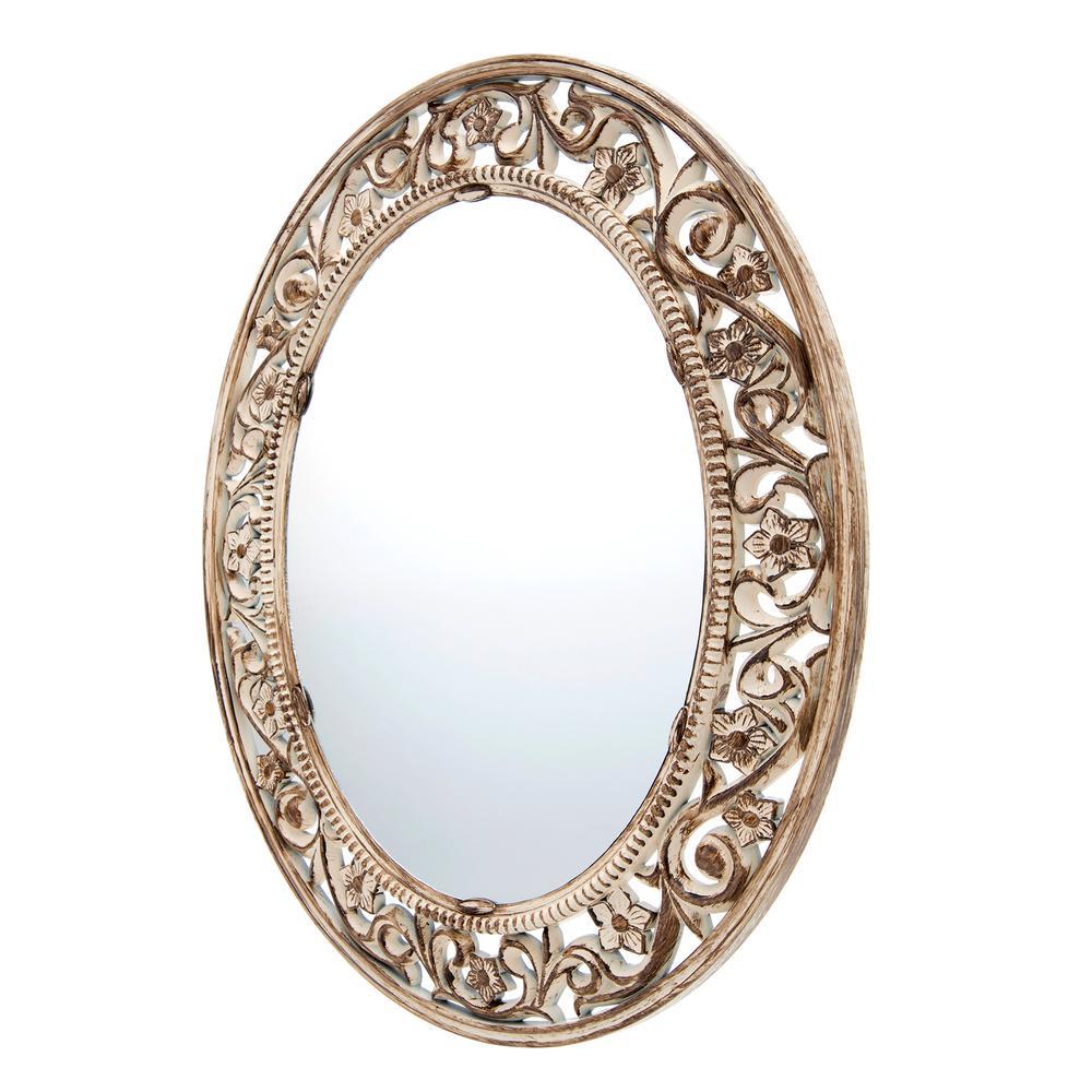 Galaxy Eskitme Oyuklu Ayna - Gold/Beyaz
