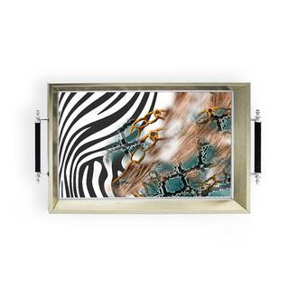 Sembol  Gümüş Zebra Tepsi- 42x31 cm