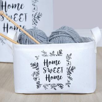 Ocean Home Beyaz Home Swet Home Baskı Kumaş Sepet - 24x17x14