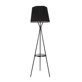 Safir Light Tripod Orta Raflı Lambader - Siyah Ayak / Siyah Kumaş Prizma Şapka