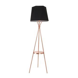 Safir Light Tripod Orta Raflı Lambader - Bakır Ayak / Siyah Kumaş Prizma Şapka