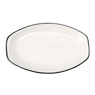Tulu Porselen Alis Kayık Tabak - Siyah/26 cm