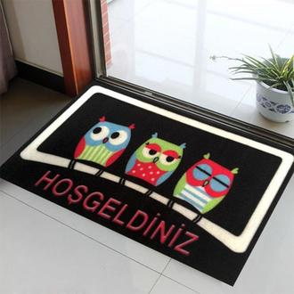 Giz Home Peppina Kapı Önü Paspası Üç Baykuş - 40x60 cm