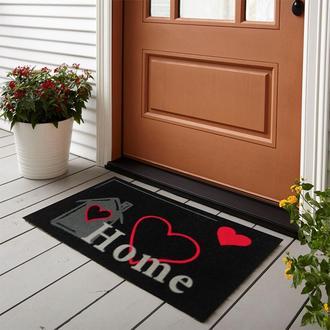 Giz Home İtalyan Kokardo Önü Kapı Paspası Home Kalp - 40X70 cm