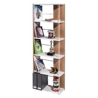 Ofisbazaar Modern 5 Bölmeli Kitaplık - Beyaz/Kiraz