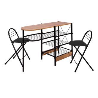 Ofisbazaar 2 Tabureli Mutfak Masası Seti - Siyah / Kiraz