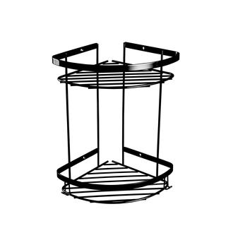 Çelik Banyo Zerrin  2' li Siyah Duş Rafı - (10 Yıl Paslanmaz)