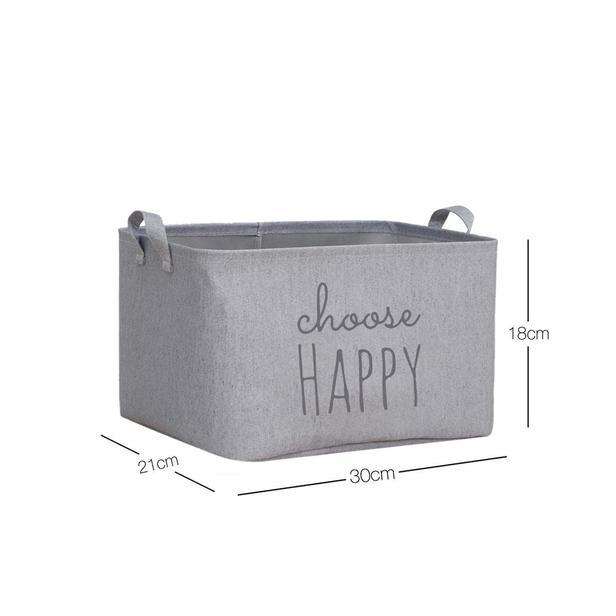 Ocean Home Choose Happy Baskılı Çok Amaçlı Sepet (Gri) - 30x21x18 cm