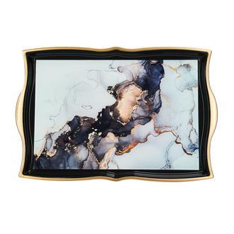 Sembol Siyah  Mermer Akrilik Tepsi - 42x31 cm