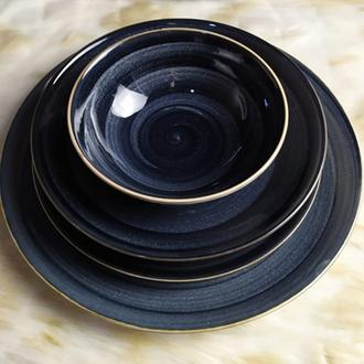 Bambum Dönence 24 Parça Porselen Yemek Takımı - Siyah