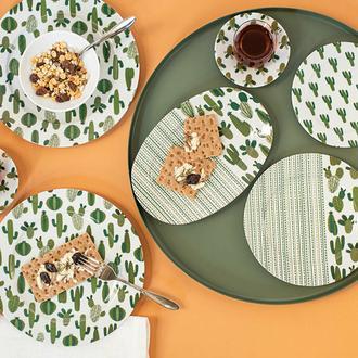 Porland Kaktüs Desen 36 Parça Kahvaltı Takımı