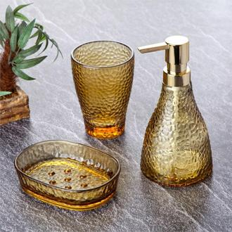Tohana 3'lü Cam Banyo Aksesuar Seti - Sarı
