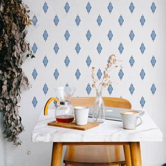 Artikel Mavi İkat Deseni Duvar Sticker