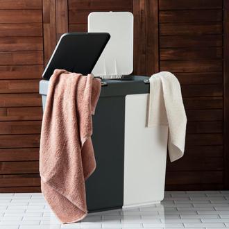 Motek Duo Laundry Antrasit / Beyaz Çamaşır Sepeti - 80 Litre