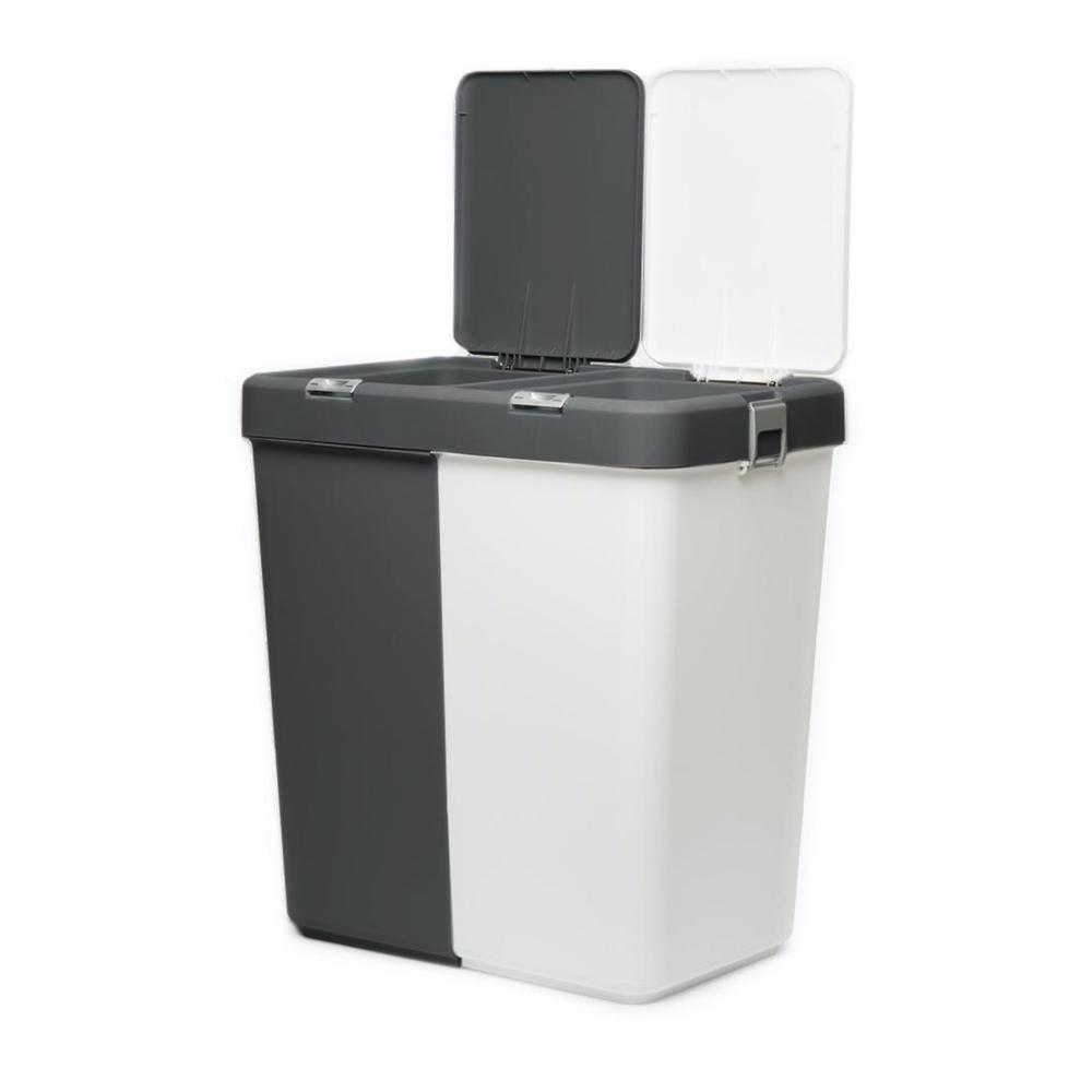 Motek Duo Laundry Çamaşır Sepeti - Antrasit / Beyaz - 80 lt