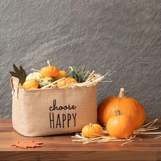 Ocean Home Choose Happy Baskılı Jüt Sepet - 30x21x18 cm