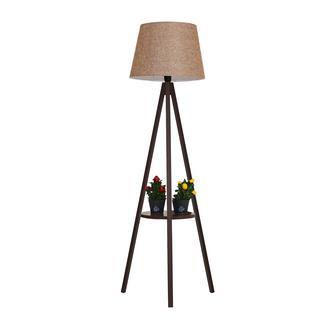 Safir Light Tripod Sehpalı Lambader - Ceviz Ayak / Açık Kahverengi Konik Şapka
