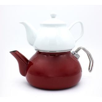 Sembol Emaye Çaydanlık - Kırmızı