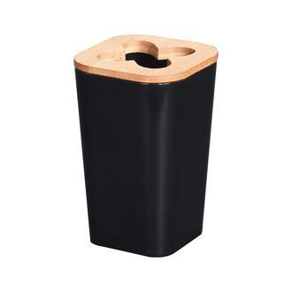 AquaLuna Bambu Kapaklı Diş Fırçalık - Siyah