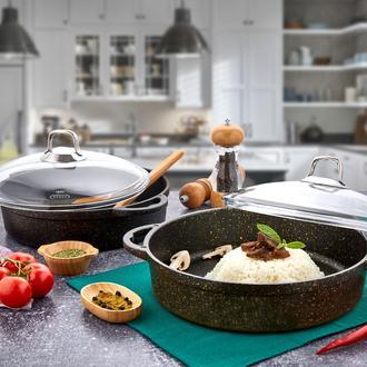 Polo Chef Iron Döküm Granit Basık Tencere - 30 cm