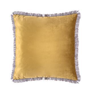 Garden Kadife Püsküllü Kırlent - Sarı - 43x43 cm