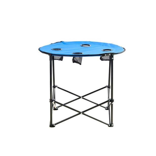 Byeren Katlanır ve Çantalı Yuvarlak Kamp, Plaj, Piknik Masası - Mavi
