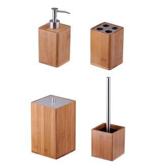 Lorin Bambu 4'lü Banyo Aksesuar Seti