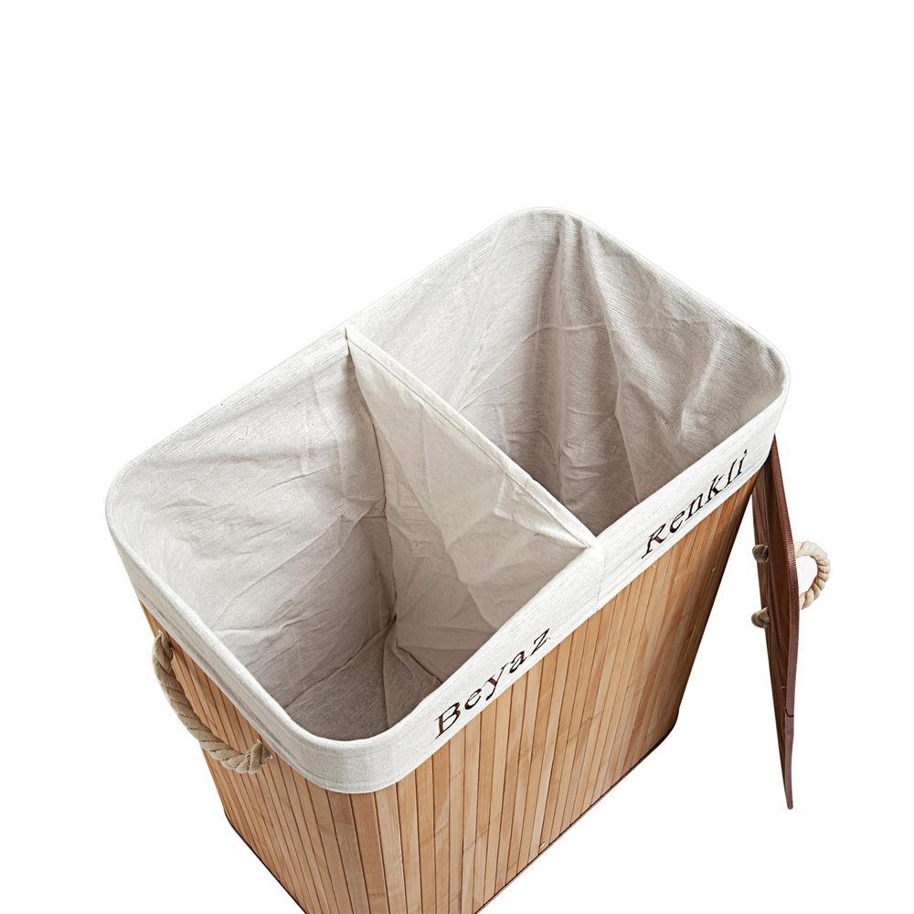 Deco&Style Bambu Naturel Çift Hazneli Çamaşır Sepeti - Bej