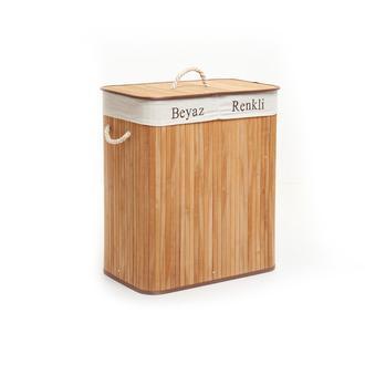Deco&Style Bambu Naturel Çift Hazneli Çamaşır Sepeti