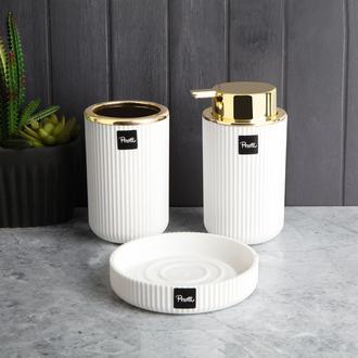Perotti Lisbone Gold 3' lü Banyo Seti - Beyaz