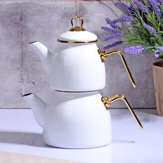 Kosova Emaye Çaydanlık - Beyaz