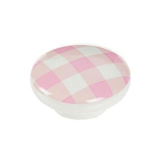Esal Ufo Pembe Kareli Düğme Kulp - Beyaz/Pembe