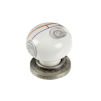 Esal Dilek Porselen Düğme Kulp - Beyaz/Kalay