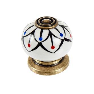Esal Rustik Düğme Kulp - Beyaz/Antik