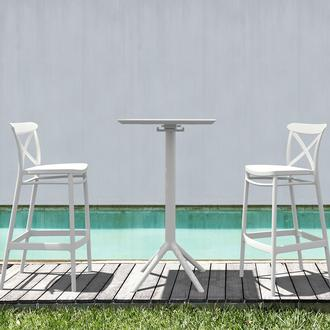 Siesta Sky Katlanır Bar Masa ve 2 Cross Bar Sandalye Seti - Beyaz