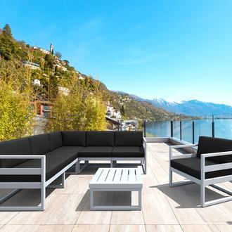 Siesta Mykonos Lounge Köşe ve Tekli Koltuk Minderli Set - Gümüş Gri