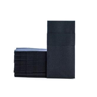 Evabella Kumaş Dokulu Cepli Kağıt Peçete - Siyah
