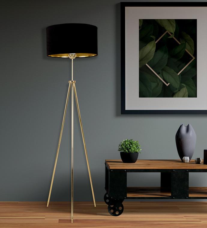 Deco&Style Tripod Lambader - Gold Kaplamalı Metal Ayak / Siyah Kadife Şapka