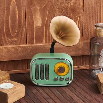 Retro Time  Nostaljik Mini Yeşil  Gramafon Bluetooth Hoparlör