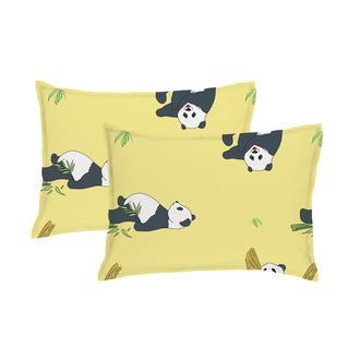 Simple Life Sarev Panda 2'li Yastık Kılıfı - Sarı