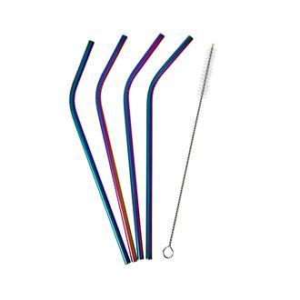 Excellent Houseware 5 Parça Renkli Çelik Pipet