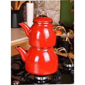 Taşev Sultan Rölyefli Çaydanlık - Kırmızı