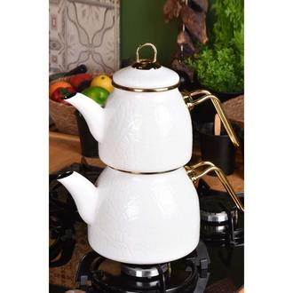 Taşev Sultan Rölyefli Çaydanlık - Beyaz