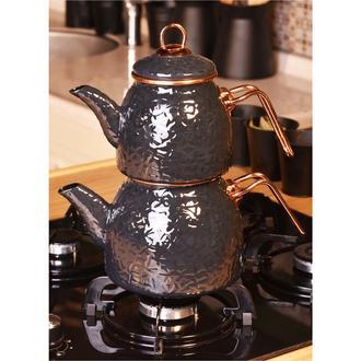 Taşev Sultan Rölyefli Çaydanlık - Gri
